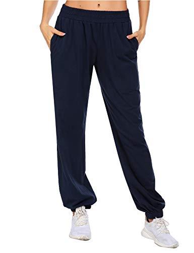Balancora Damen Jogginghose Weich Baumwolle Sporthosen mit Taschen Trainingshose mit Taschen Freizeithose für Hip-pop Fitness Blau XL
