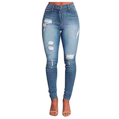 Pantalons Jeans Troué Femme, YUYOUG Femmes D'âge Waisted Skinny Denim Jeans Extensible de Poche Bouton Slim Pantalon Hole Jeans