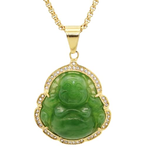 Stainless Steel Good Luck Laughing Buddha Created Imitation Jade Pendant Necklace (Gold Green)