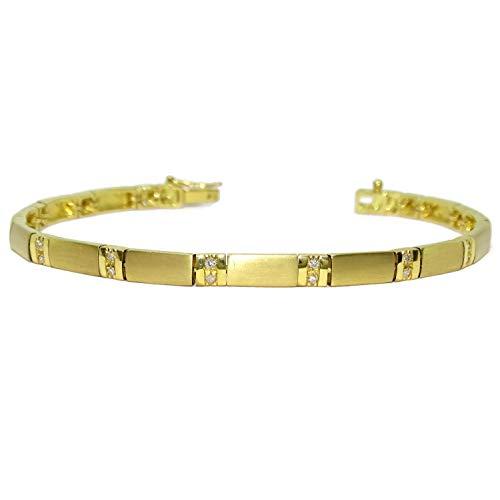Preciosa pulsera de diamantes con 0.37cts en 26 diamantes talla brillante y oro amarillo de 18k 18.00cm. Peso; 15.10gr de oro de 18k