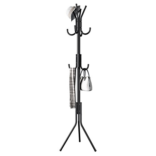 USUN Metal Coat Rack Free Standing Display Stand Hall Tree with 3 Tiers and 11 Hooks for Clothes Scarves and Hats 45173-2BK