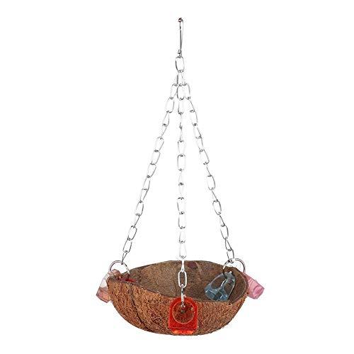 YOUTHINK Natürliche Kokosnussschale Vögel Schaukel Spielzeug Hängender Korb Sling Mit Acrylringen für Eichhörnchen Papagei Wellensittich Sittich Nymphensittich Conure Lovebird Finch Cockatoo