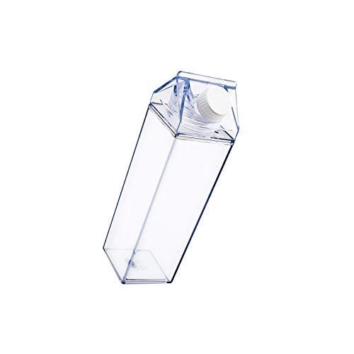 litulituhallo Botella de agua de cartón de leche, botella de jugo de agua de plástico a prueba de fugas para deportes al aire libre, viajes, camping escalada (500 ml)