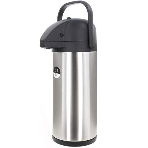 Smartweb Große Thermoskanne Pumpkanne 3 Liter XL Kaffeespender Edelstahl Doppelwandig Isolierkanne Airpot Kaffee Iso Kanne IDEAL für warme und kalte