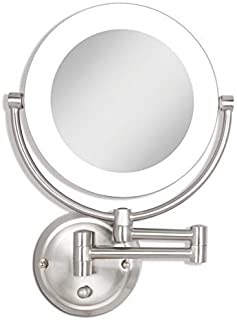 Zadro Dual-Sided Surround Light Swivel Wall Mount Make up Mirror with 1X & 10X magnification (Hardwire Ready).