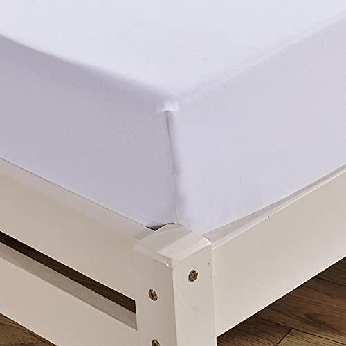 XGguo Protector de colchón - Protector de colchón antialérgico Sábana de Cama cepillada de Color Puro Antideslizante-White_152 * 203cm + 40cm
