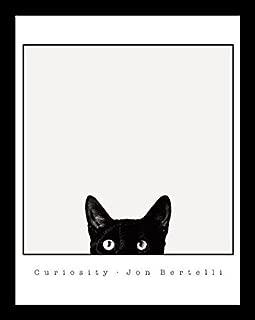 Buyartforless Framed Curiosity Black Cat by Jon Bertelli 14x11 Art Print Poster Wall Decor Black and White Photograph of Kitty Kitten Peeking