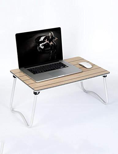 JXXDDQ Laptop-Tisch für Bett, Computertisch, zusammenklappbar, Lerntisch (Farbe, Braun, Größe L x B x H, 58 x 38 x 28 cm)