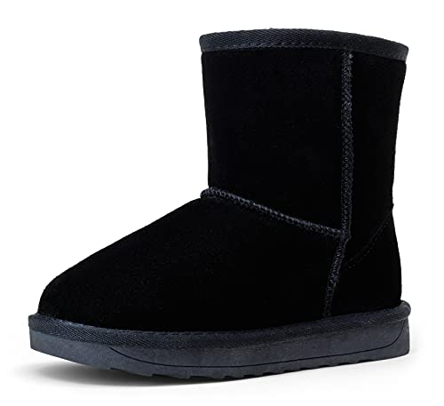 Vepose Boy's Girl's Winter Snow Boots Black Cow Suede Leather Warm Classic Booties for Little Kids Size 2(CTX827 Black 02)