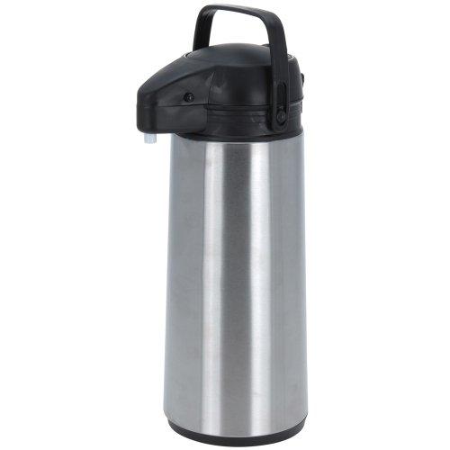 BBTrade Sales Isokanne mit Pumpmechanismus in Silber/schwarz, ca. 1,9 Liter