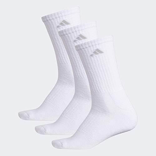 adidas Women's Cushioned Retro Crew Socks (3-Pair), Blue - Icey Blue Marl/Grey - Clear Onix Marl/White/Ice, Medium, (Shoe Size 5-10)
