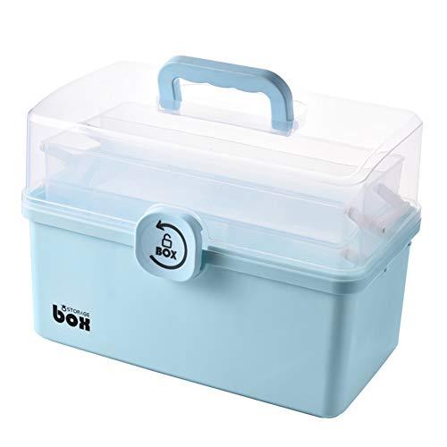 CYGG Kit de primeros auxilios portátil de 3/2 capas, caja de almacenamiento de plástico, multifunción, kit de emergencia familiar con asa, portátil, para el hogar y la oficina