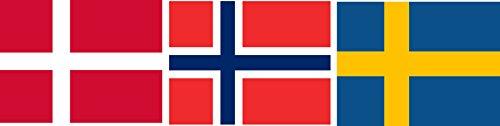Michael & Rene Pflüger Barmstedt 8,4 x 5,4 cm Autoaufkleber Set Fahne von Norwegen Dänemark Schweden Sticker Aufkleber fürs Auto Motorrad Handy Laptop