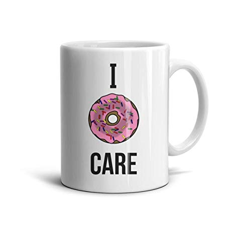 DNSIFH55 White Ceramic Mugs I Donut Care Funny Baking Doughnut Pun Breakfast Sweets Daily Use 11 oz Tea Mugs Used to Hold Latte Cappuccino Tea Coffee Water Drinks Milk for Wife