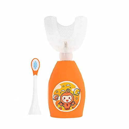 Dientes para niños Cepillo de dientes en forma de U, cabeza de cepillo de silicona de grado alimenticio, cepillo automático recargable para niños de 2 a 6 años, IPX7 orange