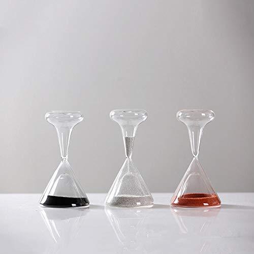 OPIUYS Reloj de arena de cristal transparente, reloj de arena en forma de copa de vino, decoración de escritorio de oficina en casa (3 unidades x 1 juego)