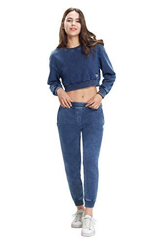 Extreme Pop - Sudadera de Felpa Vaquera con Cuello Redondo para Mujer, Jersey con Estampado gráfico, Marca del Reino Unido (Azul Vaquero 1, x_l)