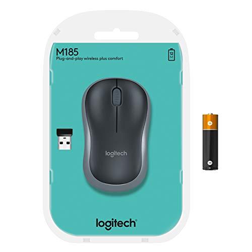Logitech M185 Kabellose Maus, 2.4 GHz Verbindung via Nano-USB-Empfänger, 1000 DPI Optischer Sensor, 12-Monate Akkulaufzeit, Für Links- und Rechtshänder, PC/Mac – Grau - 8