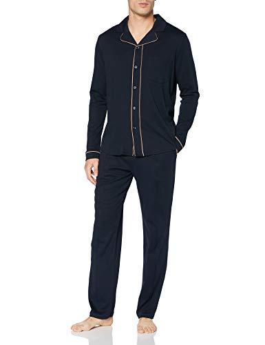 Schiesser Herren Pyjama lang Pyjamaset, dunkelblau, 52
