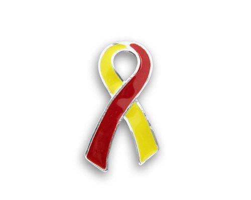 Red & Yellow Ribbon Awareness Lapel Pin - Large Flat Pin for Coronavirus Disease (COVID-19), Hepatitis C Awareness, HIV/HCV Co-Infection Awareness (1 Pin)