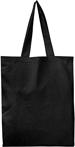 BULK 12 PACK (1 Dozen) Wholesale 100% Cotton Tote Bags, Plain Reusable Art and Craft Pary Pack Tote Bags, Kitchen Storage Organization Tote Bags (BLACK)