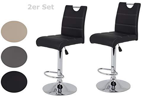 2er Set Barhocker Miranda, Kunstleder Schwarz, Trompetenfuß mit Lift und 360° drehbar, Sitzhöhe 60 auf 82 cm