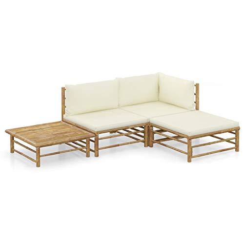 Festnight Conjunto de jardín 4 Piezas,Lounge Exterior Set de Muebles,Sofa Exterior, Conjunto de Diván para Jardín Balcón Patio Piscina Terraza,bambú y Cojines Blanco Crema