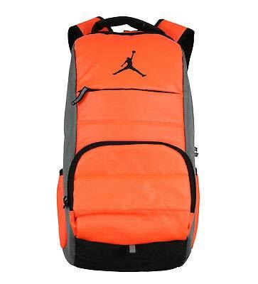 NIKE Air Jordan Jumpman All World Laptop School Storage Backpack, Hyper Orange/Grey