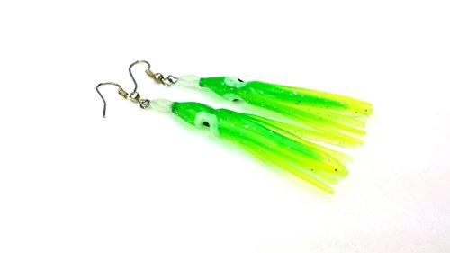 Lobo Lures Squid Earrings 3.5cm Hook Style Squid Dangle Fishing Earrings Available in 5 Colors (Mahi Skinz)