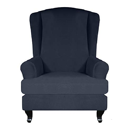 Ohrensessel Schonbezug Elastisch Sofa Überwurf Ohrensessel Überzug Sesselbezug Bezug Husse Für Ohrensessel Sessel-Überwürfe Stretch Husse Navy Blau 70-80*95-110*80-92CM