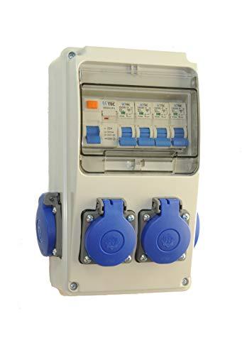 Baustromverteiler/Wandverteiler 4 x 230V/16A Schuko + LS und FI verdrahtet