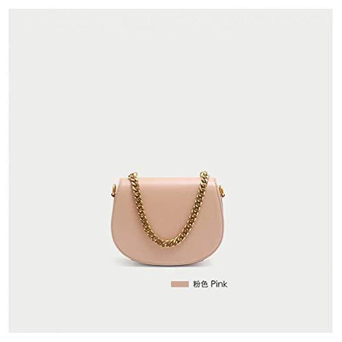 AHEFA Damen Tasche Einfarbig Metallstern Dekorative Kette Satteltasche Frauen Umhängetasche Handtasche, Pink