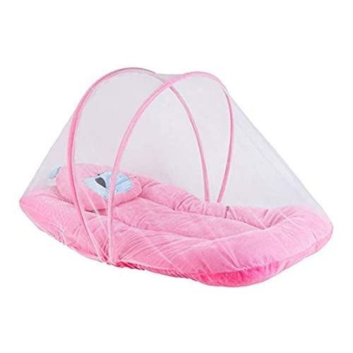 Littly Contemporary Velvet Baby Bedding Set With Foldable Mattress, Mosquito Net And Pillow (Pink)