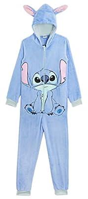 Disney Stitch Pijama Entero para Niñas De Una Pieza Super Suaves, Disfraces de Animales, Ropa de Dormir Niña Invierno, Pijamas Monos con Capucha Orejas 3D, Regalos para Niños 13-14 Años (11/12 años)