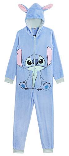 Disney Stitch Pijama de Una Pieza para Mujer Hombre, Monos Enteros Suaves con Capucha y Orejas 3D, Pijamas Invierno Mujer Polar, Ropa de Dormir para Mujeres, Accesorios Oficiales Lilo y Stitch
