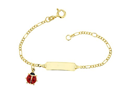 JC Trauringe 333 Gold Baby ID-Armband Kinder Goldarmband 14 cm mit Marienkäfer Anhänger rot I Figaro Armband mit Gravur Taufarmband Gold Namensarmband I Kinderschmuck made in Germany I 5.5305224