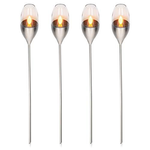 Navaris 4x LED Solar Edelstahl Gartenfackel - 8,5 x 112cm - Garten Fackel Solarleuchten Set - Außen Kerzenschein-Effekt Solarfackel Metallic Silber