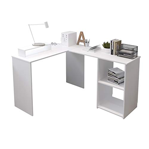 EUCO Computer Desk,White Office Desk L-Shape Wood...