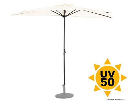 Ondis24 Wandschirm 2,7 x 1,4 Meter Sonnenschutz Sonnenschirm halbrund mit Kurbel, UV 50, Beige