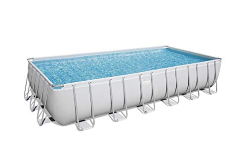 Bestway 24' x 12' x 52' Power Steel Frame Above Ground Rectangular Swimming Pool Set w/ 1500 GPH Sand Filter Pump, Cover, Ladder, & Ground Cloth