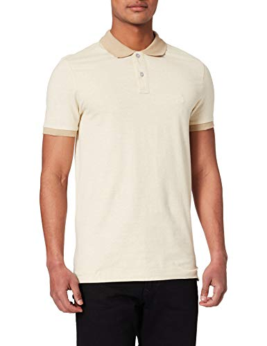 Springfield Polo Slim Jersey microrayas Camiseta, Beige, L para Hombre