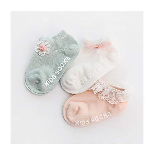 Baby sok 3 paar/Set Pasgeboren Katoen Sokken Baby Meisje Anti-slip Vloer Sok Met Mooie 3D Strik Bloem Kinderen Ruches Enkel Sok
