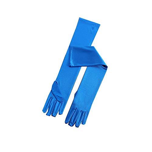 RdChicLog Party Hochzeit Satin Handschuhe Lang Brauthandschuhe Kostüm Zubehör Damen Karneval Halloween lange Handschuhe (Blau)