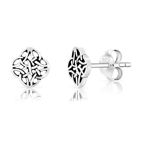 DTPsilver® KLEINE Ohrringe 925 Sterling Silber - Keltisch Knoten Ohrstecker - Durchmesser 7 mm