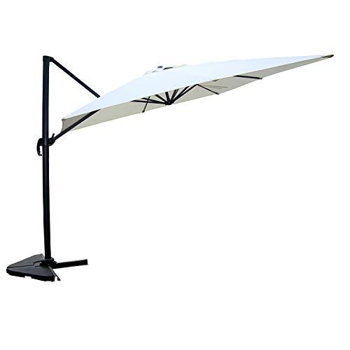 CONCEPT USINE - Palatino écru : Parasol déporté, carré de 3x3m, Rotatif à 360°