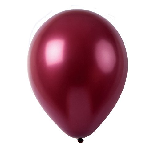 Topenca Supplies Party Solid Metallic Latex Balloons, 50-Pack, 12-Inch, Burgundy