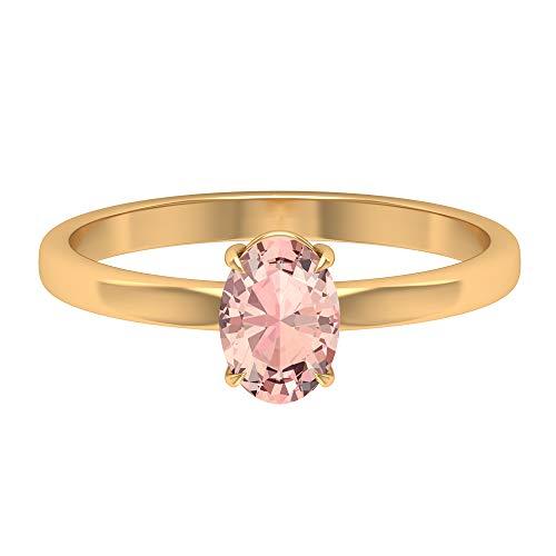 Anillo de promesa de solitario, 1,06 ct, forma ovalada de 7x5 mm, morganita creada en laboratorio, joyería simple, anillo de compromiso ovalado, 14K Oro amarillo, Size:EU 55