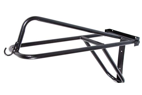"""EASY-UP Fold Down Western & English Horse Saddle Rack   24"""" Long x 7-3/4"""" Wide x 15"""" Height   Made from 3/4"""" Tubular Steel   Black/Copper Hammered Finish"""