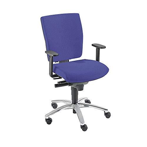 Dauphin Operator-Drehstuhl | Schreibtischstuhl | Bürostuhl, Synchronmechanik, Schiebesitz, Rückenlehnenhöhe 500 mm, blau
