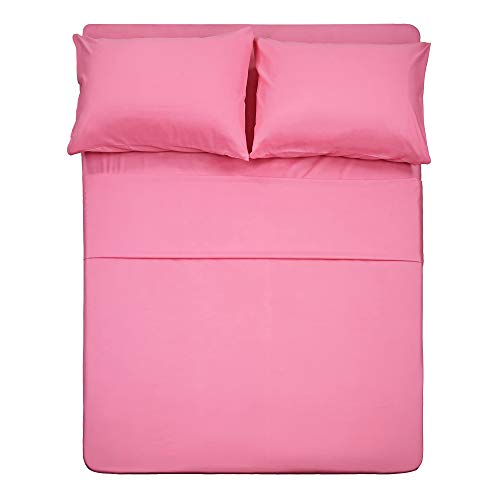 Best Season 4 piece Bed Sheet Set (Full,Peach Pink) 1 Flat Sheet,1 Fitted Sheet and 2 Pillow Cases,100% Brushed Microfiber 1800 Luxury Bedding,Deep Pockets,Extra Soft & Fade Resistant